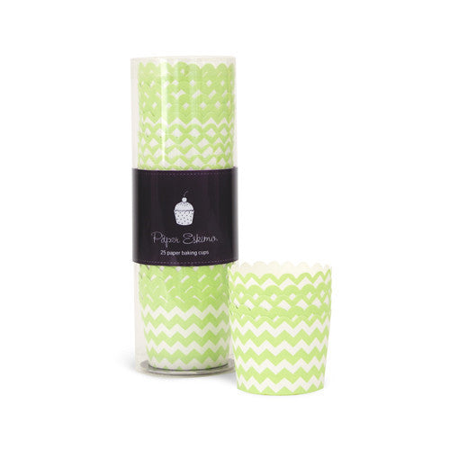 Baking Cups - Apple Green Chevron
