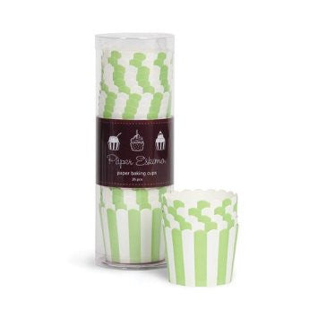 Baking Cups - Apple Green Stripes