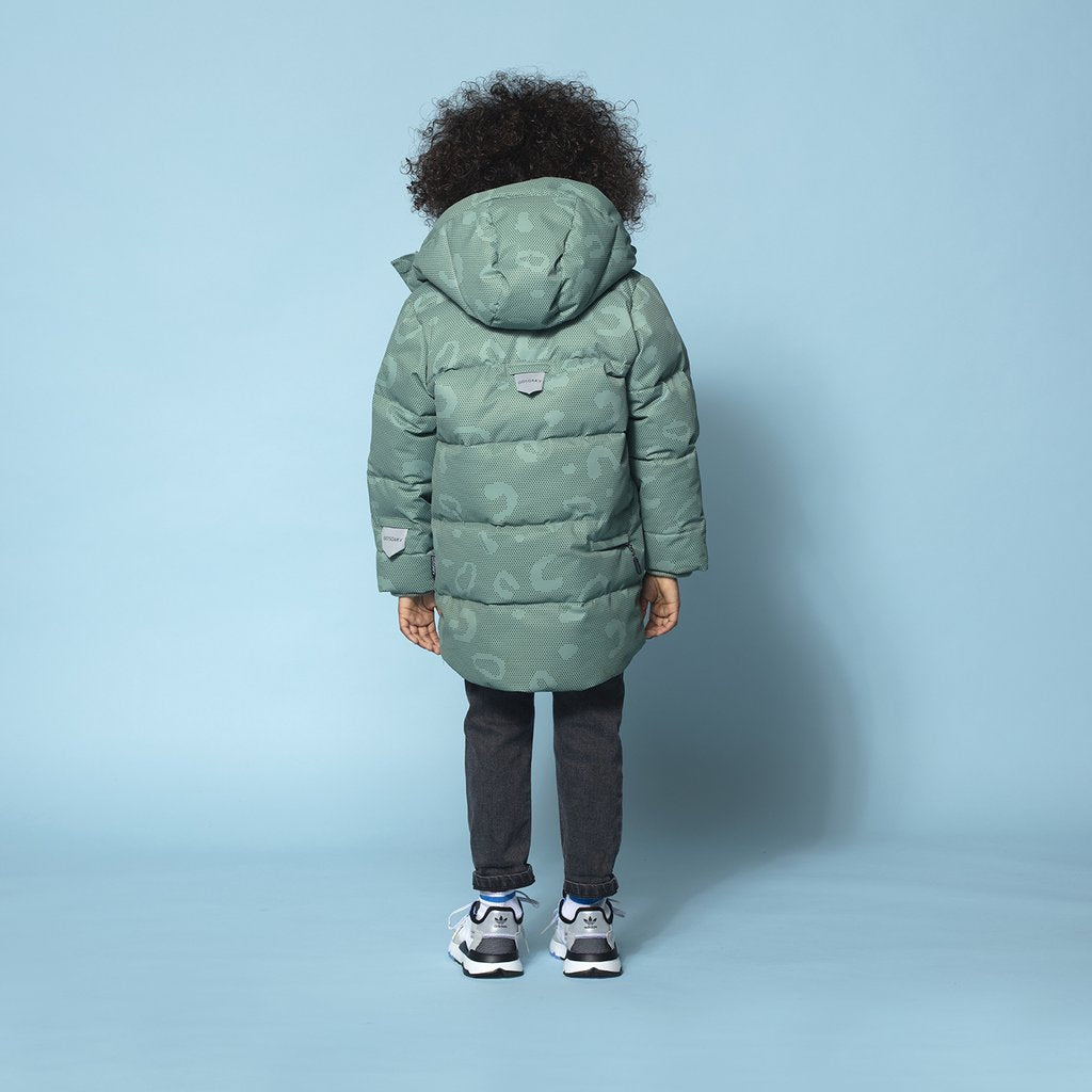 TIGER EYE UNISEX WATERPROOF PUFFER JACKET // GREEN BAY ALLOVER PRINT