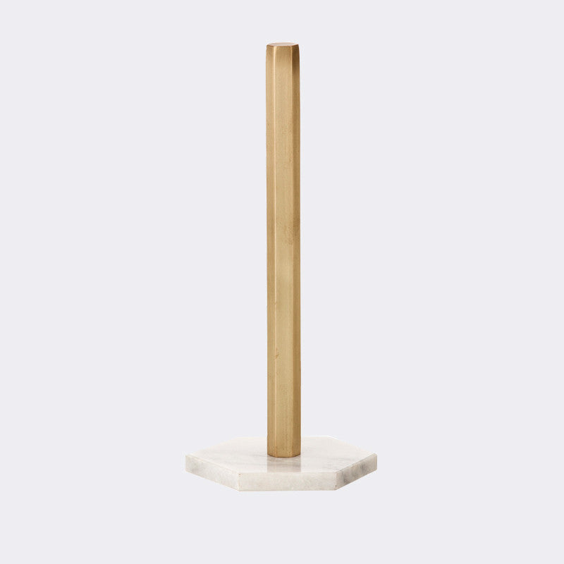 Hexagon Brass & Marble Paper Towel Stand