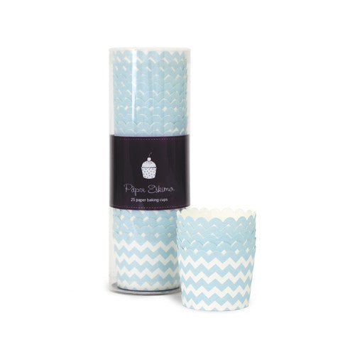 Baking Cups - Powder Blue Chevron