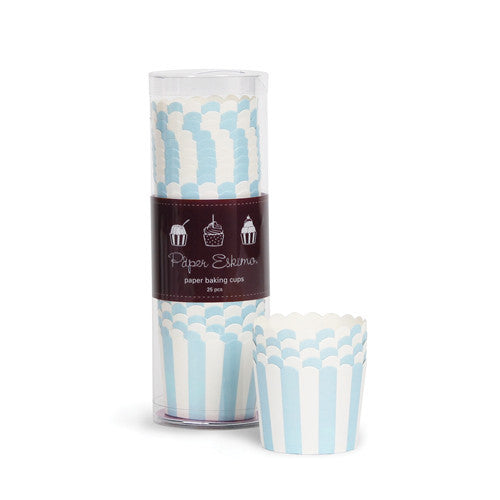 Baking Cups - Powder Blue Stripes