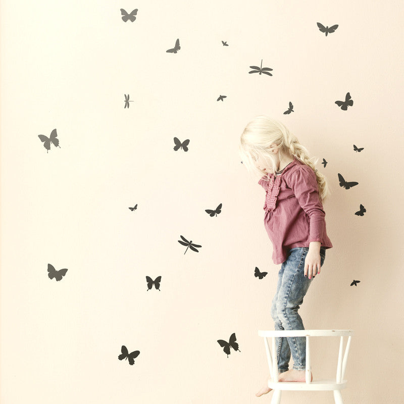 Wallsticker - Mini Butterflies - Black