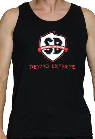 Men's Black Speedboat Tanktop - Red Badge Logo (Beyond Extreme)