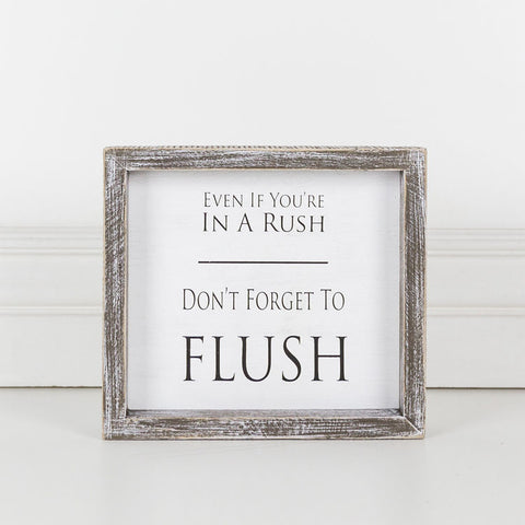 Flush Bathroom Wooden Sign