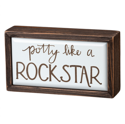 potty like a rockstar wooden sign