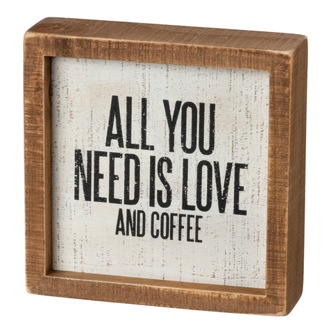 wooden Box Sign - Love & Coffee