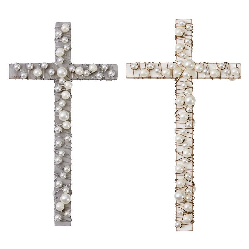 Cross with Pearls (2 Colors) - Mud Pie