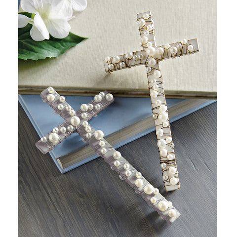 Cross with Pearls - 2 Colors