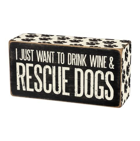 Box Sign - Dogs & Wine