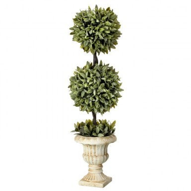Plant - Flocked Sage Doube Ball Topiary