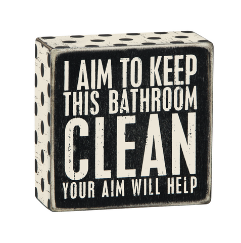 wooden sign box for bathroom