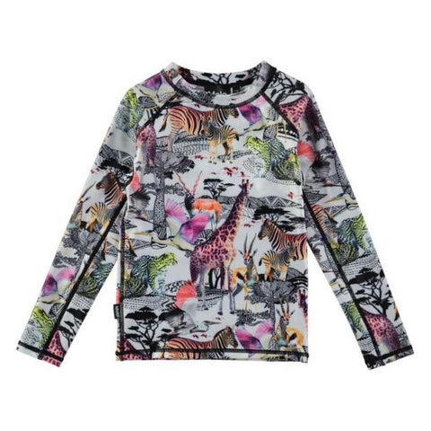 Safari Animals Long-Sleeved Rash Guard