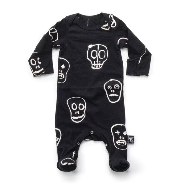 Skull Mask Footed Romper in Black