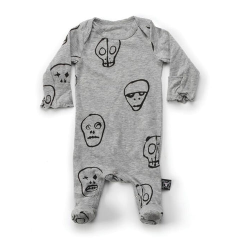Skull Mask Footed Romper in Gray