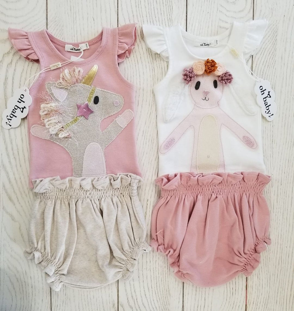 Flutter Sleeve Tushie Outfit - (Size 0-3M)