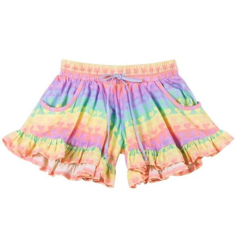 Rainbow Hearts Frilled Jersey Shorts