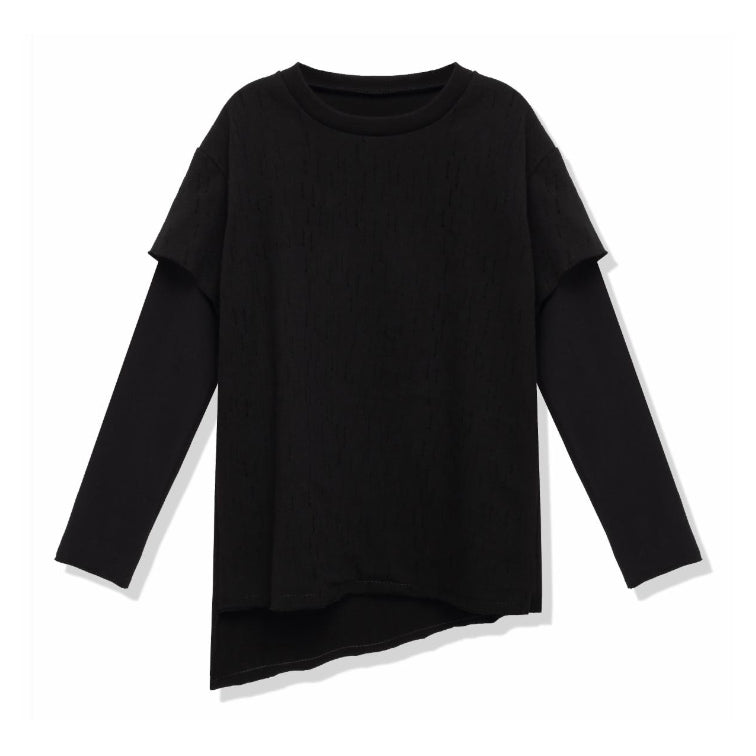 Asymmetric Layered Long Sleeve T-Shirt