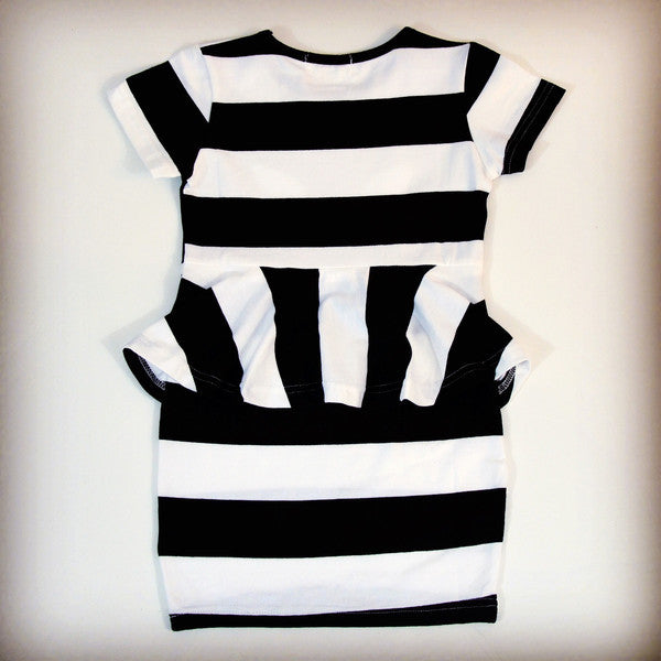 Adorable black and white striped cat peplum dress for girls, ages 3T to 10Y