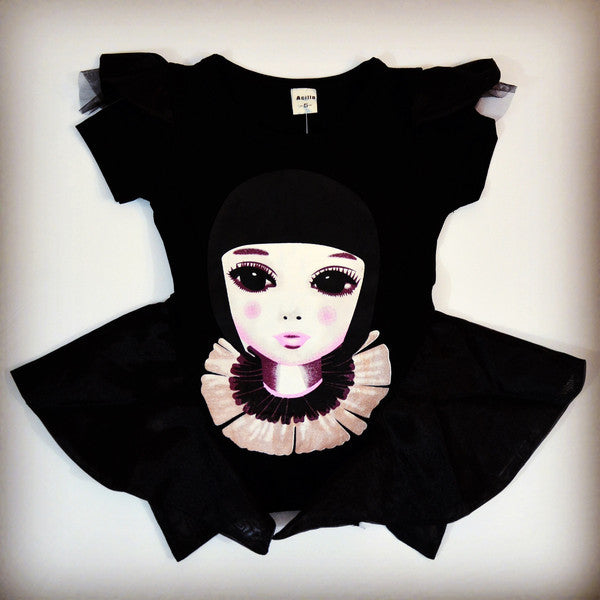 Edgy Cleopatra inspired black peplum top with flutter sleeves, girls 12M to 5T
