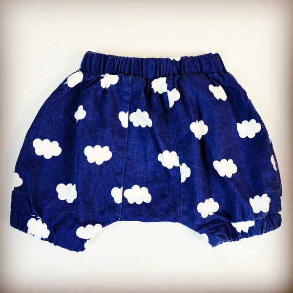 Denim bloomers with white cloud detail, ages 18M to 5T