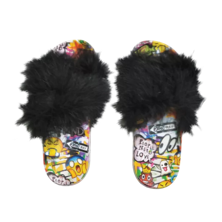 Emoji Graffiti Fur Slides
