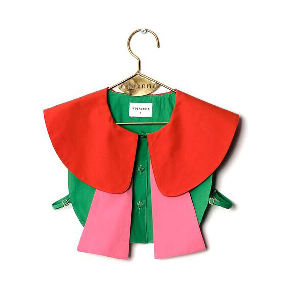 Fani Collared Bib in Green/Orange