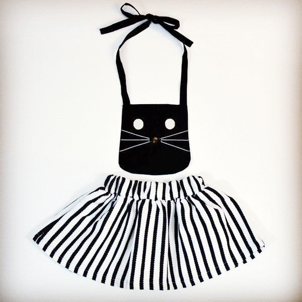 Black and white striped toddler girl cat jumper