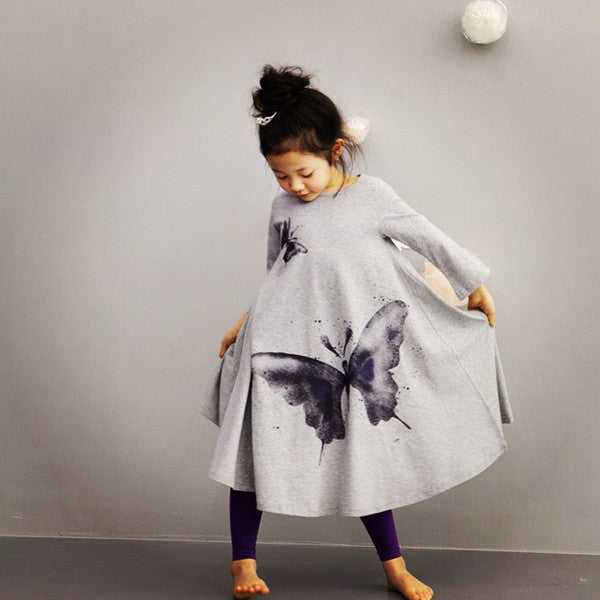 Girls gray butterfly dress, sizes 4T to 8Y