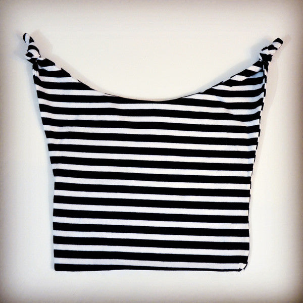 Hipster black and white striped hat for babies