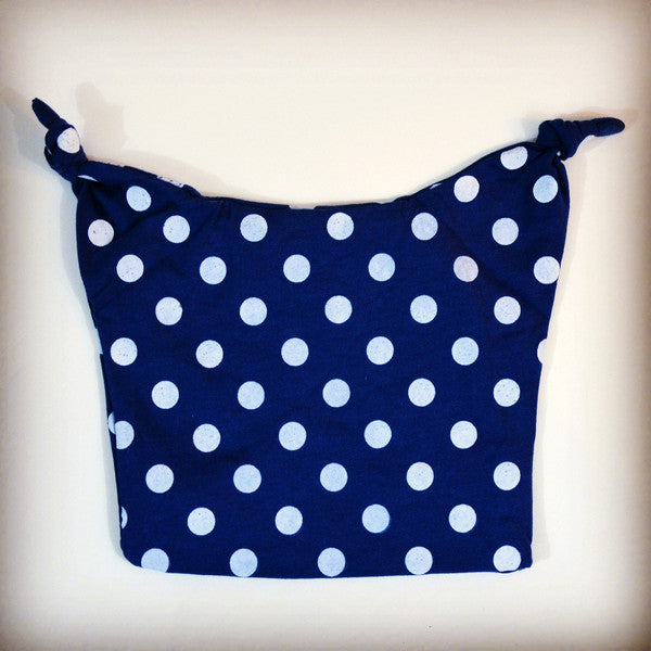 Cool blue and white polka dot stocking cap for babies
