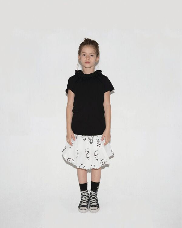Skull Mask Balloon Skirt in Black