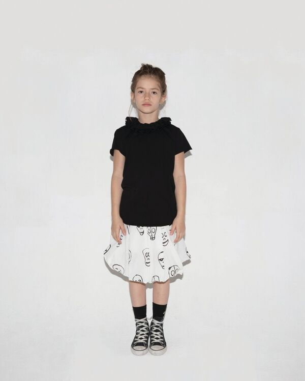 Skull Mask Balloon Skirt in White