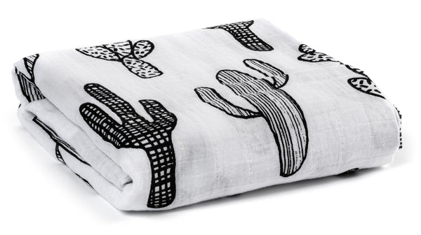 Organic Cotton Muslin Swaddle Blanket - Cactus
