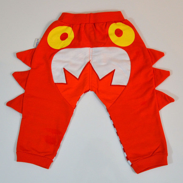 Fierce orange and white striped shark fin pants for toddler boys