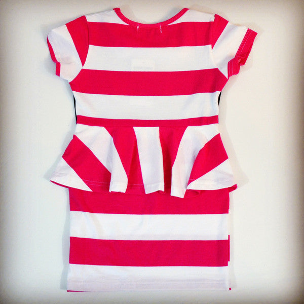 Adorable pink and white striped cat peplum dress for girls, ages 3T to 10Y