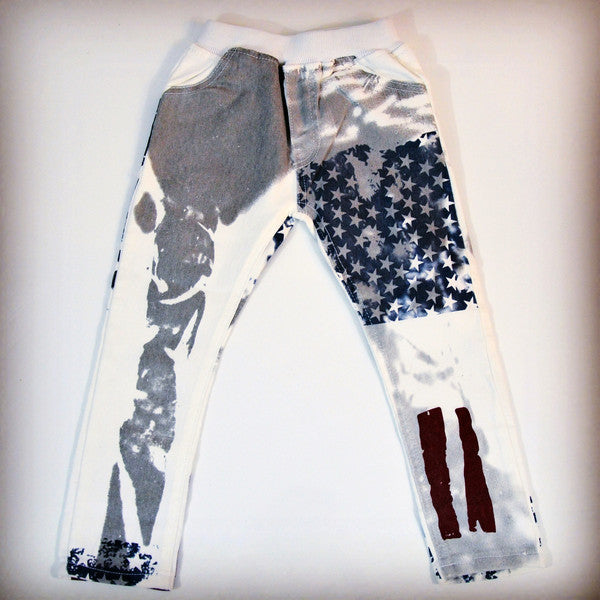 Red, white, and blue grunge style pants for children
