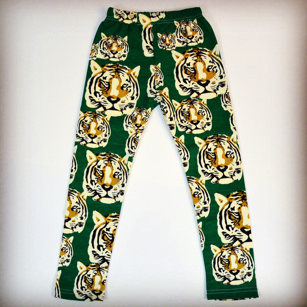 Quirky green tiger leggings for children, girls
