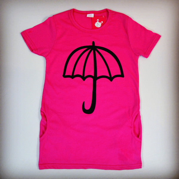 Dark pink umbrella dress for children, girls