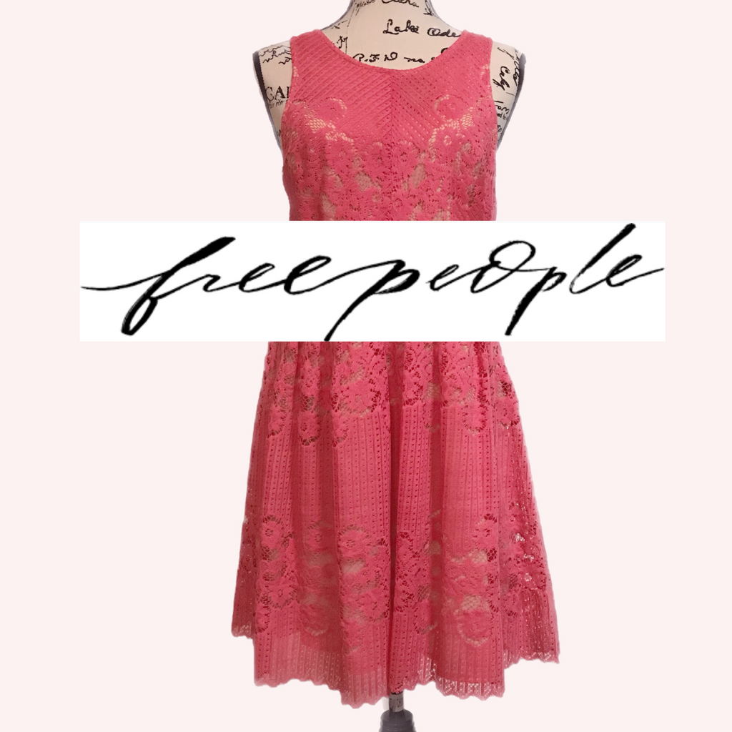 Shop My Closet: Free People Coral Pink Lace Summer Dress Size L