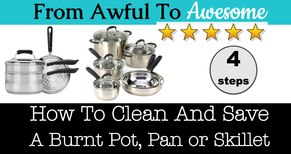 How to clean and save a burnt pot, pan or skillet with water and white vinegar