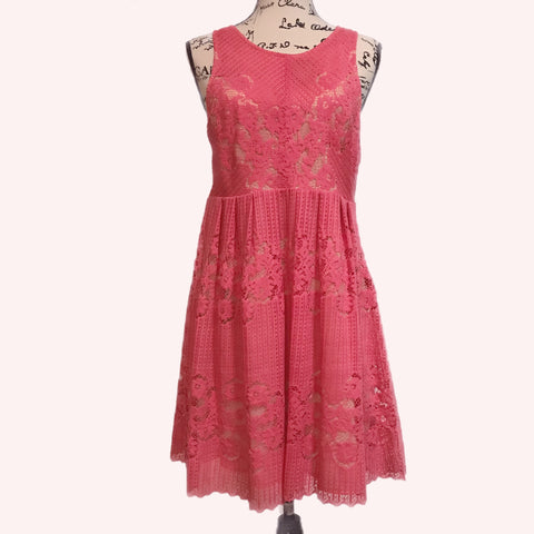 Pink Coral Free People Lace Summer Dress Size L