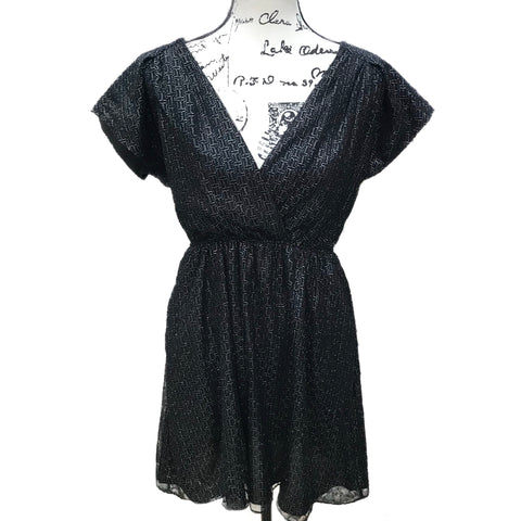 BCBG Black Metallic Print Dress Size S