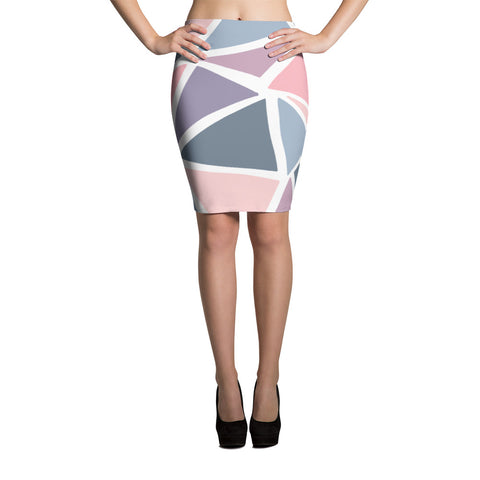 Geometric Triangles Pattern Pencil Skirt