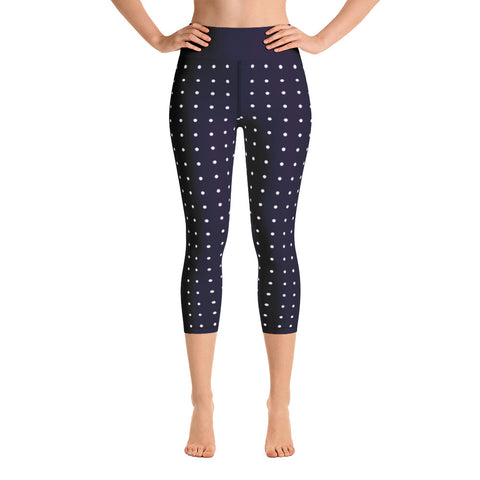 Navy Blue Polka Dot Yoga Capri Leggings