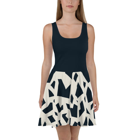 Black & Off White Geometric Print Skater Dress