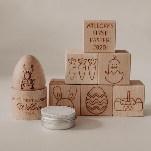 First Easter Wooden Easter Egg & Cup plus personalised blocks