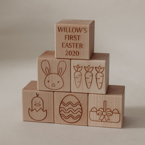 Personalised Easter blocks make the perfect newborn gift. Celebrate your baby's first year!