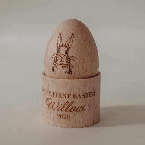 Wooden Easter Egg & Cup with your baby's name to celebrate their first Easter 2020
