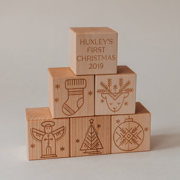 My First Christmas personalised blocks